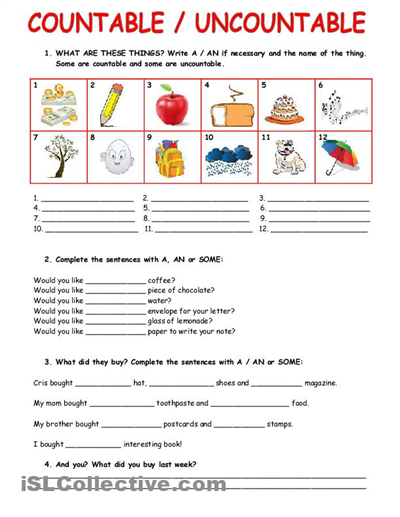 Image Countable And Uncountable Nouns Worksheets Download